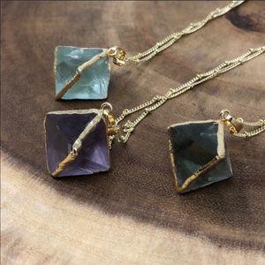 14k Gold Fluorite Crystal Boho Necklace